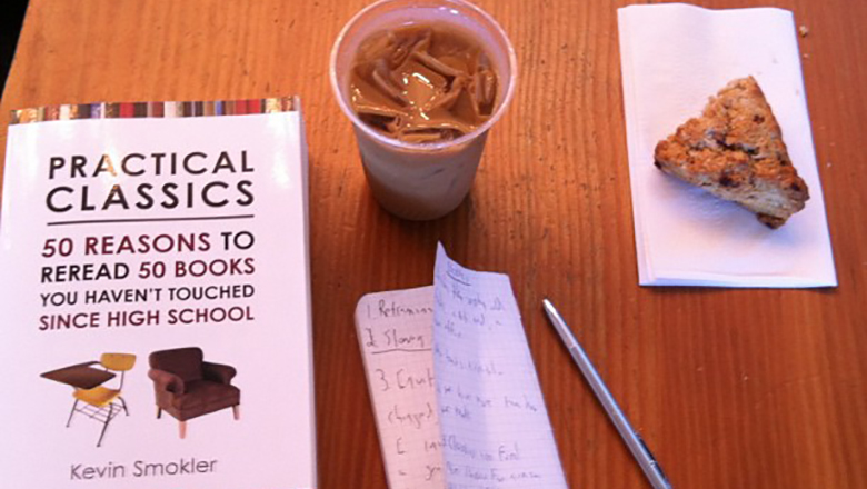 """Practical Classics"" Book on a Table at a Coffee Shop."